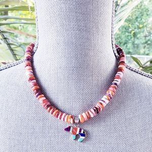 Spiny Oyster Navajo Sterling Inlaid Bear Necklace